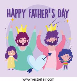 happy fathers day, dads with crowns daughter and son heart love cartoon