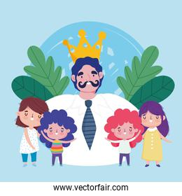 happy fathers day, dad with mustache crown and little kids celebration