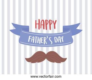 happy fathers day, moustache ribbon stripes background card