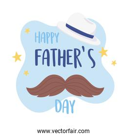 happy fathers day, moustache and hat greeting card