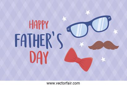 happy fathers day, moustache glasses bow tie stars decoration