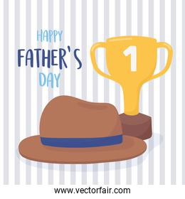 happy fathers day, phrase hat and gold trophy celebration card
