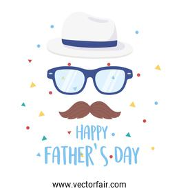 happy fathers day, moustache glasses and hat greeting card