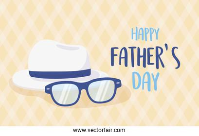 happy fathers day, glasses and white hat invitation card
