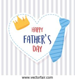 happy fathers day, necktie crown heart on striped background