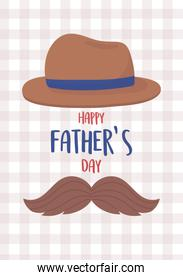 happy fathers day, moustache and classic hat decoration