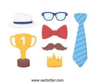 happy fathers day, necktie gold crown moustache glasses bow tie hat