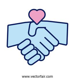 handshake with heart solidarity line and fill style