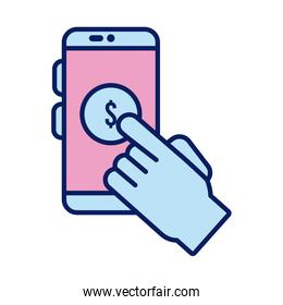 hand indexing doantion in smartphone solidarity line and fill