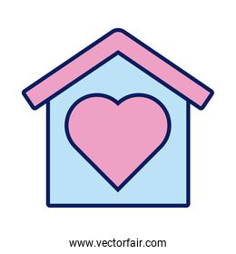 house with heart solidarity line and fill style