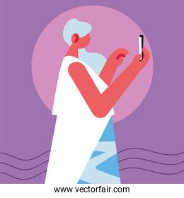woman holding smartphone, social media