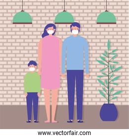 parents couple and son using face masks
