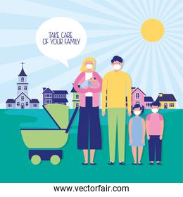 parents couple with kids and baby cart using face masks