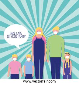 parents couple with kids using face masks