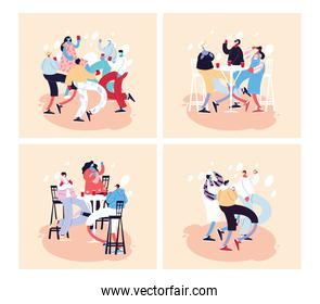 set of cards with people celebrating using face mask