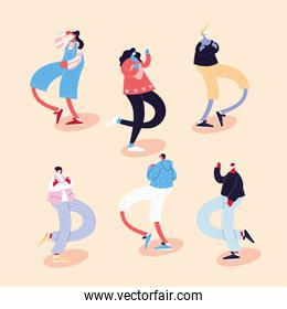 set of people dancing different poses using face masks