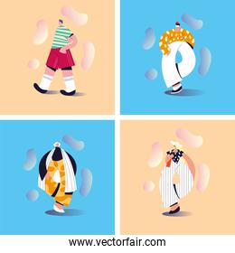 set of cards with people standing in different poses