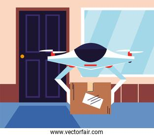 contactless delivery, drone carries shopping box a the door