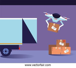 drone carries boxes from the delivery truck in purple scene