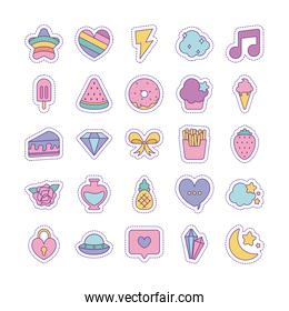 Cute patches line and fill style icon set vector design