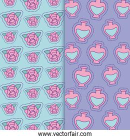 flowers and flasks background vector design