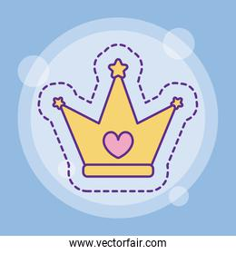 Crown with heart vector design