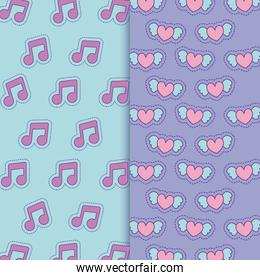 music notes and hearts with wings background vector design