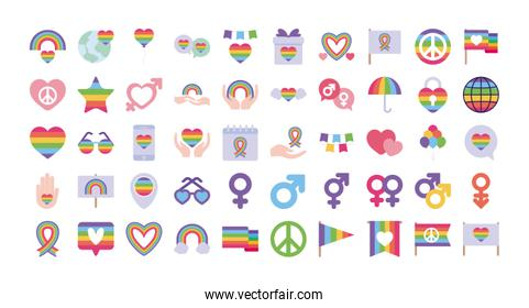 Pride day and lgtbi flat style icon set vector design