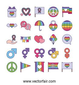 Pride day and lgtbi fill style icon set vector design