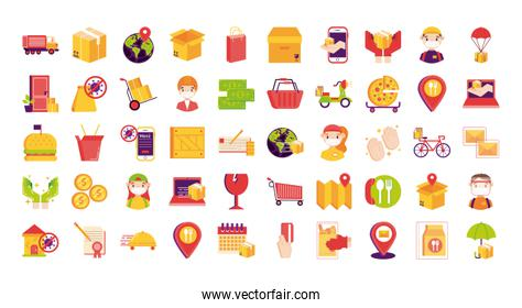 bundle of delivery set icons