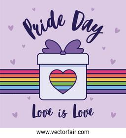 pride day love is love and lgtbi heart inside gift vector design