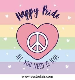 Happy pride love peace and heart in front of lgtbi flag vector design