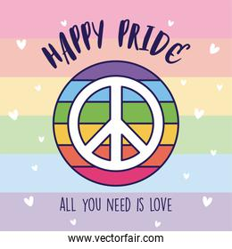 Happy pride and lgtbi love and peace vector design