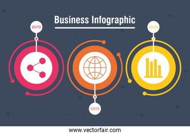 business infographic with years icons