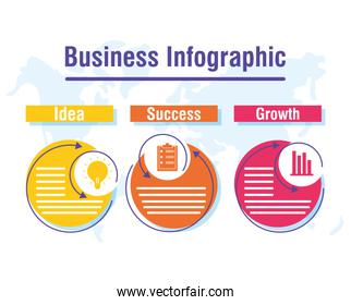 business infographic with world planet