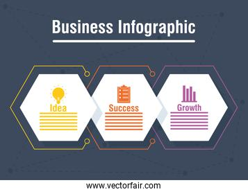 business infographic with rhombus icons