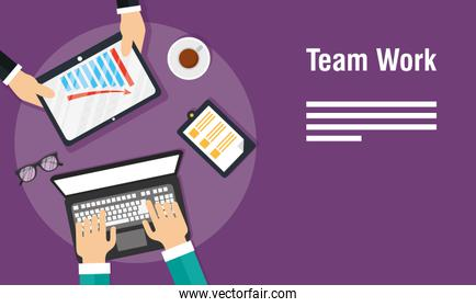 teamwork banners with laptop and tablet