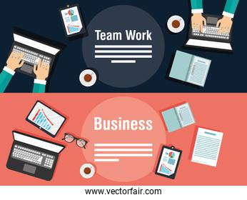 business and teamwork banners with gadgets