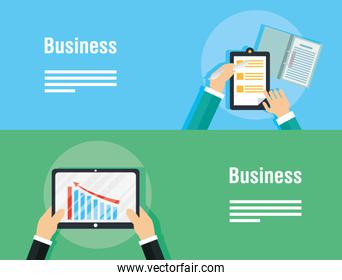 business banners with tablet device
