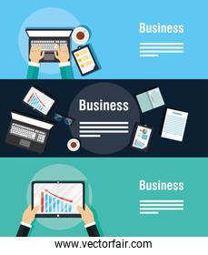 business banners with gadgets and icons