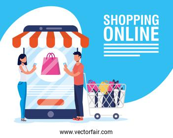 couple using shopping online tech in smartphone