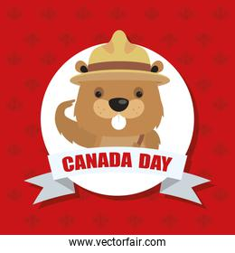 happy canada day with cute beaver