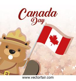 happy canada day with beaver and flag