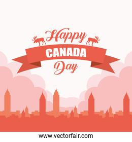happy canada day with cityscape frame