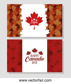 happy canada day with maple leafs frames