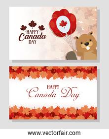 happy canada day with maple leafs and beaver