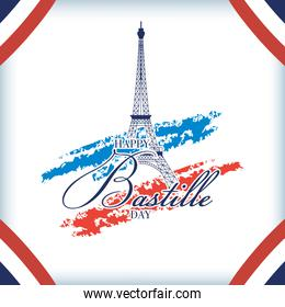 bastille day celebration with tower eiffel and flag