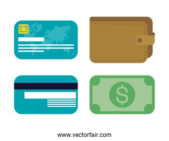banking online technology set icons
