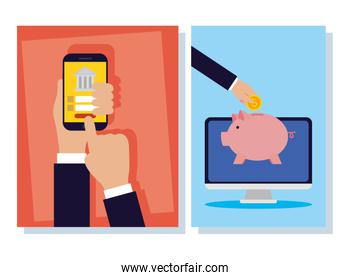 banking online technology with desktop and smartphone