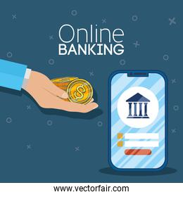 banking online technology with smartphone